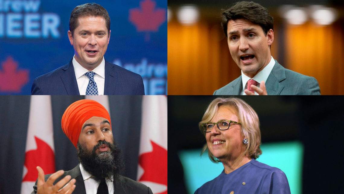 Leaders from the 2019 Green, Conservative, NDP and Liberal Parties