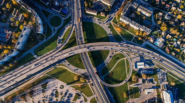 commercial buildings and city roads